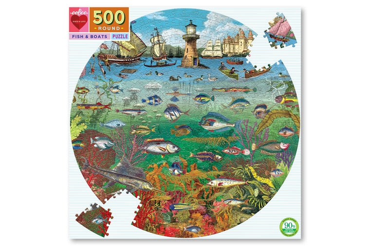 eeBoo - Fish and Boats Round Puzzle