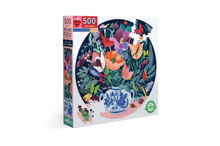 eeBoo - Still Life with Flowers Round Puzzle - 500 Pieces