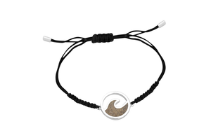 Wave Black Cord Bracelet - White Sand Beach and Turquoise - Dune