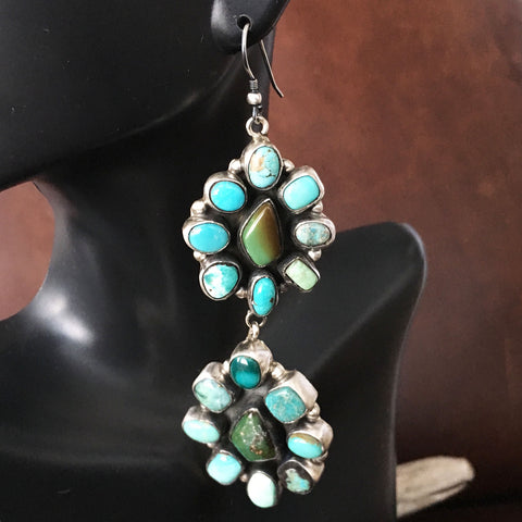Double Flower Cluster Dangle Carico Lake Turquoise Earrings Sterling Signed