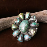 Large Handmade Sterling Carico Lake Turquoise Flower Statement Ring Size 9