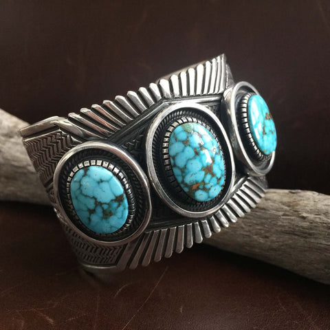 For Men Large Stamped Sterling Silver Turquoise Mountain Statement Bracelet