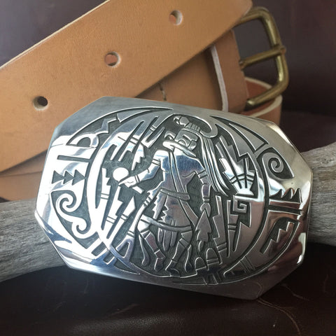 For Men Large Sterling Silver Navajo Eagle Kachina Belt Buckle