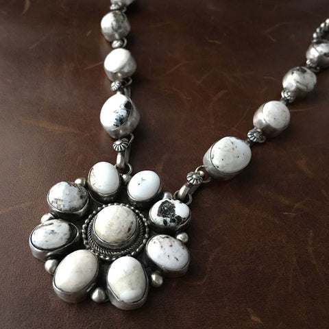 Handmade White Buffalo Turquoise Sterling Cluster Flower Necklace Signed