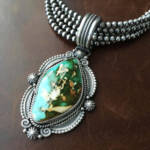 5 Strand Heavy Gauge Royston Turquoise Sterling Necklace Handmade M and R