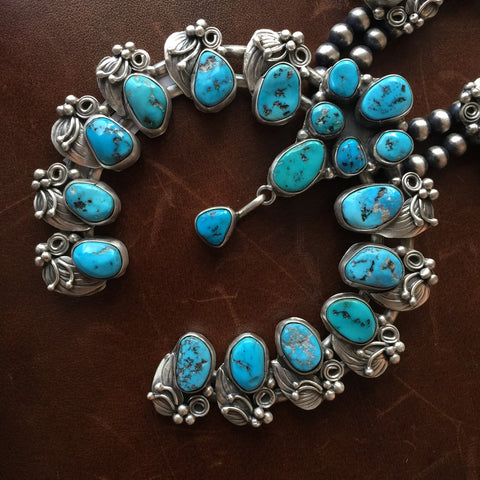 Oxidized Sterling Sleeping Beauty Turquoise with Pyrite Squash Blossom Necklace