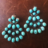 Pyramid Shaped Campitos Turquoise Sterling Earrings Cluster Style Signed B