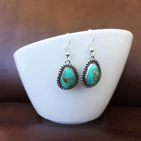 Single Stone Royston Turquoise Stamped Sterling Silver Teardrop Earrings Signed