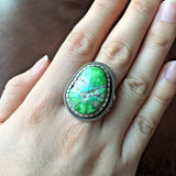 Unique Carico Lake Turquoise Natural Ring Signed By Terry Martinez Navajo Sz 7.5