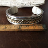 For Men B Morgan Signed 14K Gold and Silver Deep Stamp Overlay Cuff