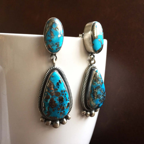 Handmade Simple Sterling Silver 2-Stone Ithaca Peaks Turquoise Earrings