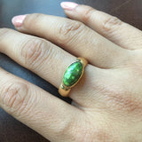 Gem Grade Lime Green Carico Lake Turquoise Ring in 18K Gold Mona Van Riper Sz 8