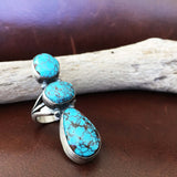 Classic Handmade Sterling Silver 3 Stone Egyptian Turquoise Ring Size 7.5