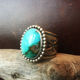For Men Medium Small Royston Turquoise Stamped Sterling Silver Ring Size 15