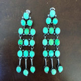 Clustered Lime Green Australian Gaspeite Turquoise Dangle Earrings