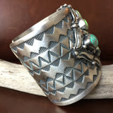 Beautiful Sterling Blue Carico Lake Turquoise Cuff Signed Darrin Livingston