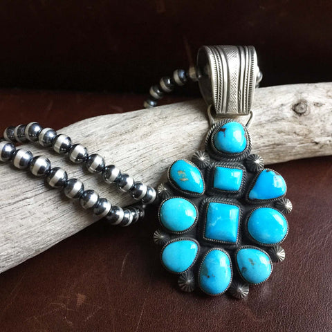 Sterling Silver Egyptian Turquoise Flower Pendant with 5mm Navajo Bead Chain