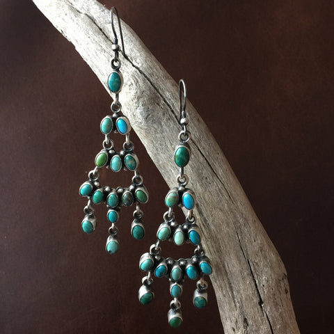Handmade Waterfall Carico Lake Turquoise Cluster Earrings Signed Eleanor Largo