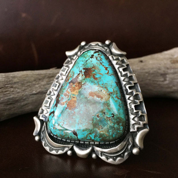 Large Sterling Silver Triangle Single Stone Royston Turquoise Ring Size 10