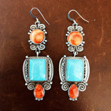 Complimentary Orange Spiny Oyster and Campitos Turquoise Dangle Earrings