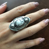 Beautiful Handmade Sterling Silver Stamped Overlay White Buffalo Ring Size 8