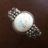 Large Natural Circular Dry Creek Turquoise Sterling Silver Overlay Bracelet
