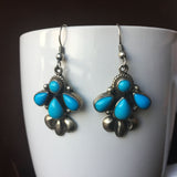4 Stone Sleeping Beauty Turquoise Sterling Earrings Natural Stone Handmade