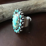 Handmade Royston Turquoise with Mini Cluster Ring Signed Paul Livingston Size 7