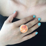 Statement Piece Sterling Single Stoned Orange Spiny Oyster Circle Ring Size 7