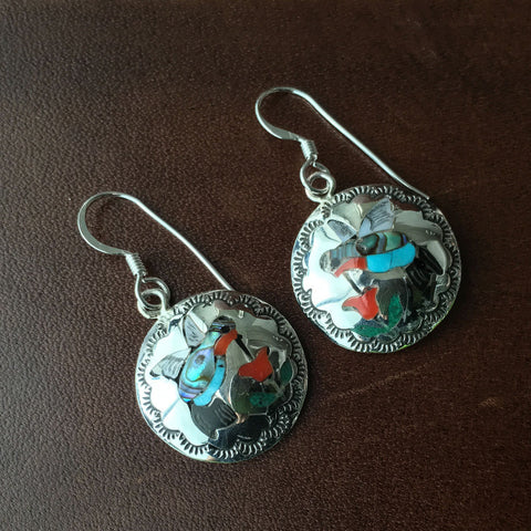 Sterling Inlay Earrings Humming Bird Handmade Signed By Zuni Pueblo Quintin Quam