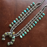 Carico Lake Turquoise Cluster Mini Squash Blossom Necklace Signed Johnson