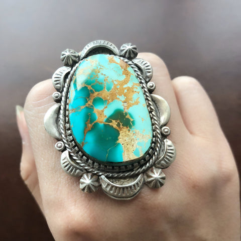 Classic Natural Stamped Sterling Silver Large Royston Turquoise Ring Size 8