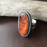 Beautiful Long Oval Spiny Oyster with Red Matrix Sterling Silver Ring Size 7