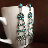 Beautiful Mini Clustered 6 Carat Egyptian Turquoise Chandelier Luxury Earrings