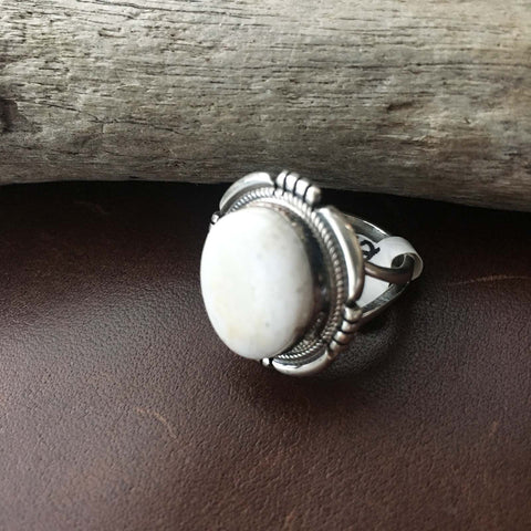 Simple Small Circle Natural White Buffalo Sterling Silver Pinky Ring Size 5.5