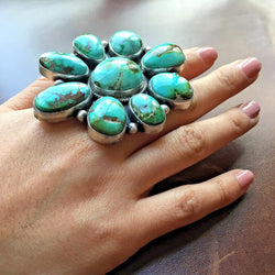 Handmade Statement Sterling Natural Huge Royston Turquoise Cluster Ring Size 8