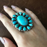 Medium Sterling Silver Clustered Carico Lake Turquoise Long Flower Ring Size 7