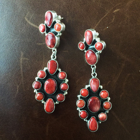 Red Petit Cluster Spiny Oyster Sterling Earrings Long Dangle Handmade
