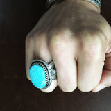 For Men Medium Kingman Turquoise Stamped Sterling Silver Ring Size 10