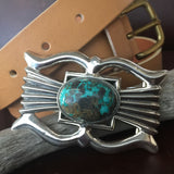 Robert Chee Sterling Belt Buckle Carico Lake Turquoise Handmade Signed Unisex
