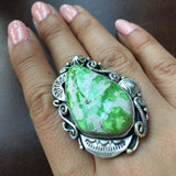 Handmade High Grade Carico Lake Turquoise Sterling Ring Signed Dany Clark size 6