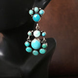 Elegant 925 Sterling Earrings Carico Lake Turquoise Cluster Style Signed Largo