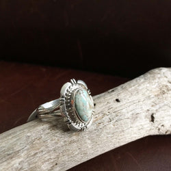Beautiful Mini Sterling Silver Single Stone Dry Creek Turquoise Ring Size 8