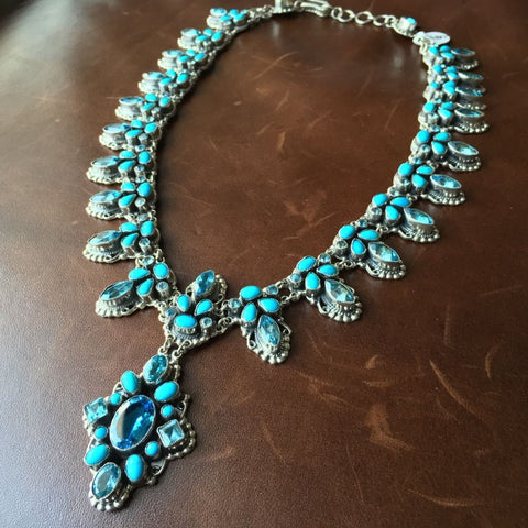 Elegant Sterling Natural Sleeping Beauty Turquoise Topaz Necklace Leo Feeney