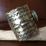 Natural #8 Turquoise Stamped Sterling Silver Cuff Signed Larry Martinez Chavez