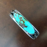 Collector Piece Classy Long Oval Royston Turquoise Bracelet Signed Snowhawk