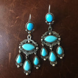 Sky Blue Bisbee Earings without Matrix Statement Earrings Sterling Signed V