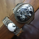 Handmade Sterling Silver Cuff with Large White Buffalo Signed Leon Martinez