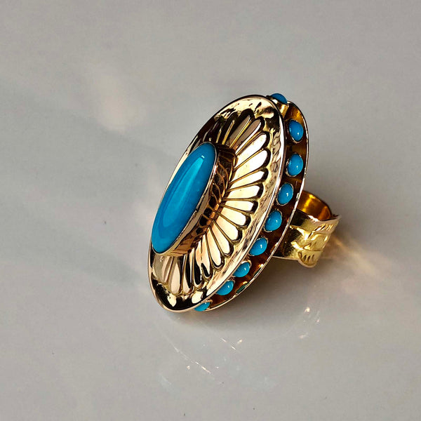 Blue Gold Treasure 14K Gold Sleeping Beauty Double Layer Flower Ring Size 8
