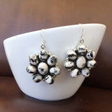 Classic Sterling Silver White Buffalo Clustered Flower Earrings All Natural